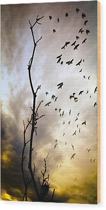 The Gods Laugh When The Winter Crows Fly Wood Print by Bob Orsillo