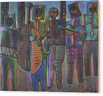 The Gods Of Music Come To New York Wood Print by Gerry High