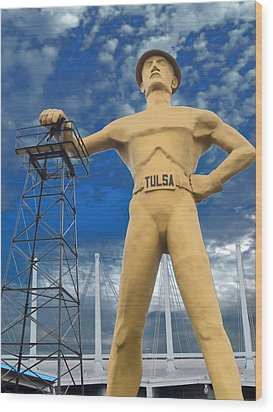 The Golden Driller - Tulsa Oklahoma Wood Print