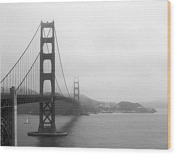 The Golden Gate Bridge In Classic B W Wood Print by Connie Fox