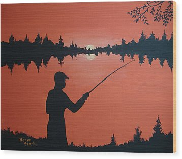 Wood Print featuring the painting The Golden Hour by Norm Starks