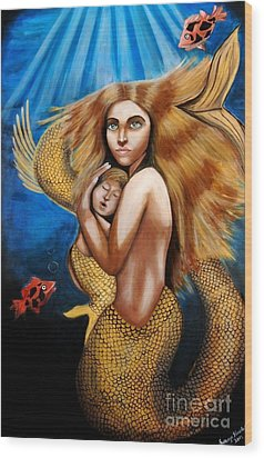 The Golden Mermaid Wood Print