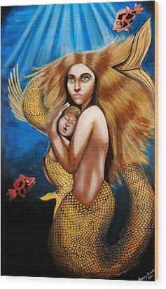 The Golden Mermaid Wood Print by Saranya Haridasan