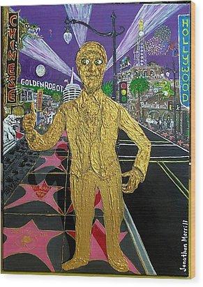 The Golden Robot Wood Print