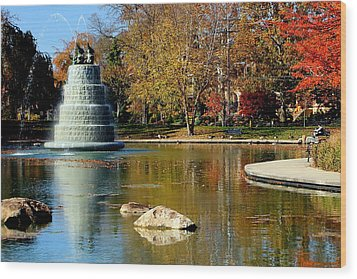The Goodale Park  Fountain Wood Print by Laurel Talabere