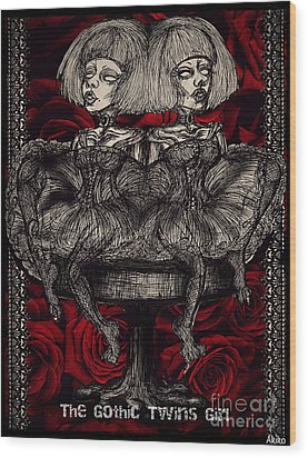 The Gothic Twin Girls Wood Print