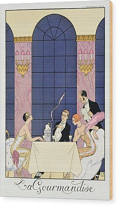 The Gourmands Wood Print by Georges Barbier