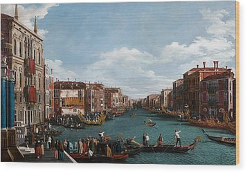 The Grand Canal At Venice Wood Print by Antonio Canaletto