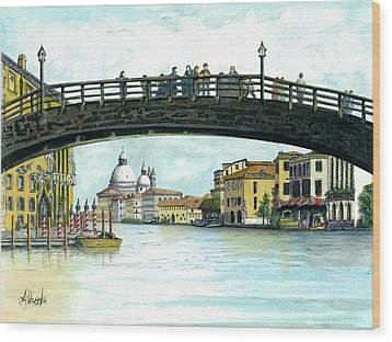 Wood Print featuring the painting The Grand Canal Venice Italy by Albert Puskaric