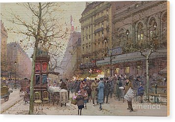 The Great Boulevards Wood Print by Eugene Galien-Laloue