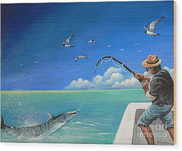 Wood Print featuring the painting The Great Catch 1 by Sgn