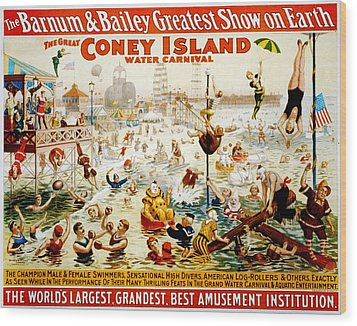 The Great Coney Island Water Carnival Wood Print by Georgia Fowler