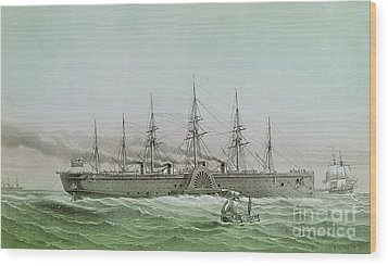 The Great Eastern Laying Electrical Cable Between Europe And America Wood Print by Louis Le Breton