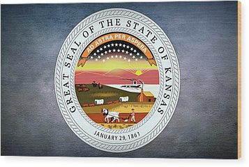 The Great Seal Of The State Of Kansas  Wood Print by Movie Poster Prints