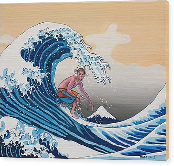 The Great Wave Amadeus Series Wood Print by Dominique Amendola