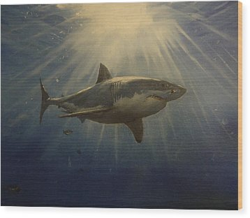 The Great White King Of The Seas Wood Print by Alexandros Tsourakis