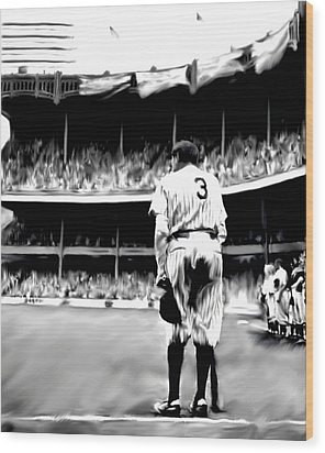 The Greatest Of All  Babe Ruth Wood Print by Iconic Images Art Gallery David Pucciarelli