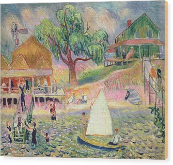 The Green Beach Cottage Wood Print by William James Glackens