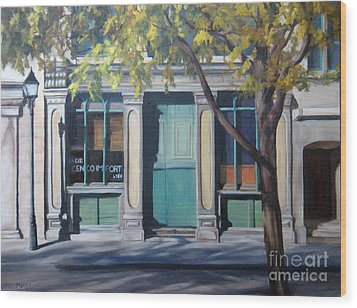 The Green Door  Old Montreal Wood Print by Rita-Anne Piquet