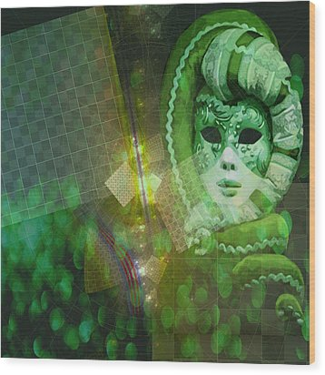 Wood Print featuring the digital art The Green Lady by Melissa Messick