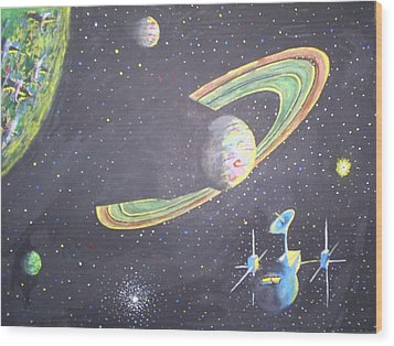 The Green Solar System Wood Print