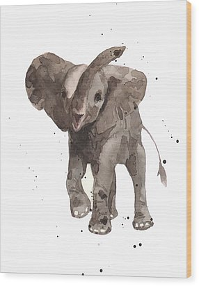 The Greeter Elephant Wood Print by Alison Fennell