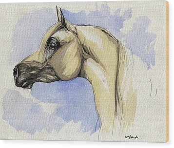 The Grey Arabian Horse 12 Wood Print by Angel  Tarantella