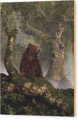 The Grizzly's Forest Wood Print by Daniel Eskridge