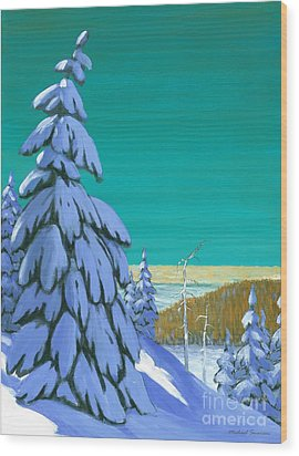 Wood Print featuring the painting Blue Mountain High by Michael Swanson