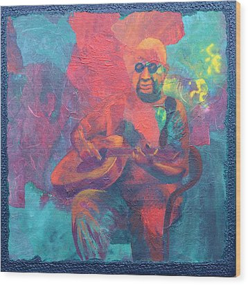 Wood Print featuring the painting The Guitar Player by Nancy Jolley