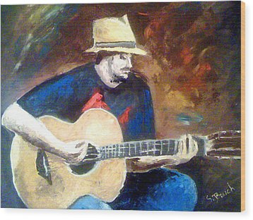 The Guitarist Wood Print by Soumya Bouchachi