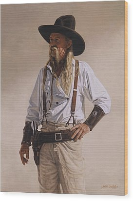 Wood Print featuring the painting The Gunslinger by Ron Crabb
