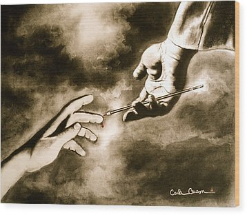 The Hand Of God Wood Print by Carla Carson