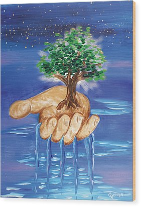 The Hand Of The Lord Wood Print by Gary Rowell