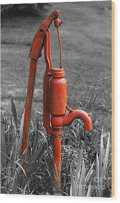 The Hand Pump Wood Print