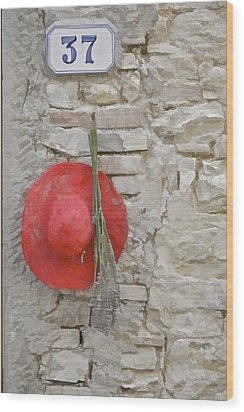 The Hanging Red Hat Wood Print