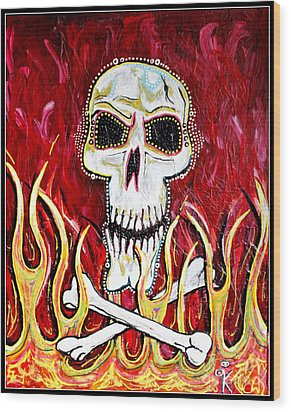 The Happy Skull Wood Print by Kip Krause