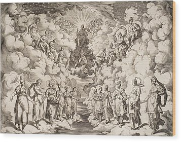 The Harmony Of The Spheres Wood Print by Agostino Carracci