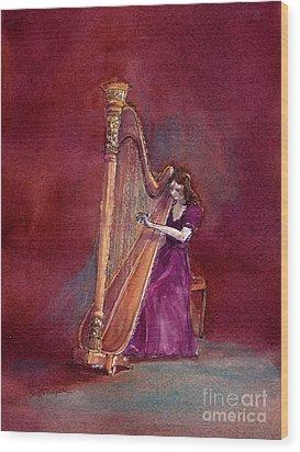 The Harpist Wood Print