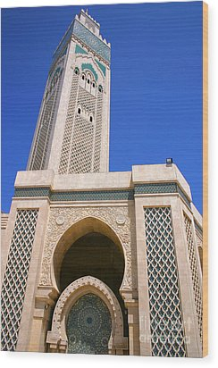 The Hassan II Mosque Grand Mosque With The Worlds Tallest 210m Minaret Sour Jdid Casablanca Morocco Wood Print