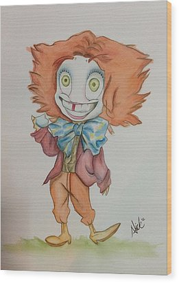 The Hatter Is Mad Wood Print by Nico Bress