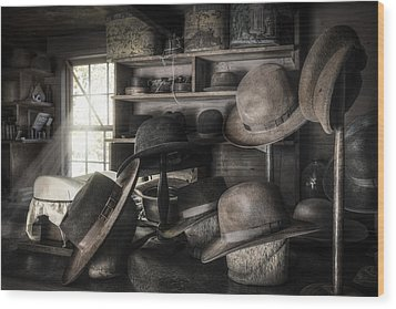 The Hatters Shop - 19th Century Hatter Wood Print by Gary Heller