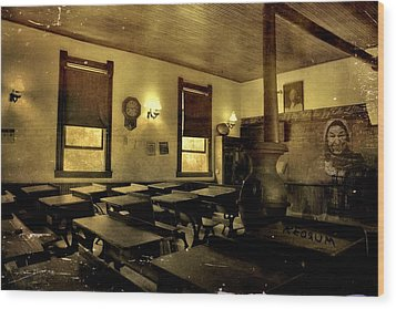 The Haunted Classroom Wood Print by Dan Sproul