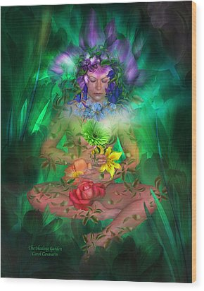 The Healing Garden Wood Print by Carol Cavalaris