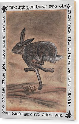 The Heart Of The Hare Wood Print by Bryana  Johnson