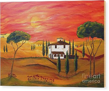 The Heat Of Tuscany Wood Print by Christine Huwer