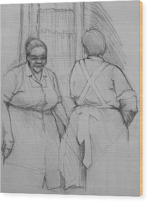 The Help - Housekeepers Of Soniat House Sketch Wood Print by Jani Freimann