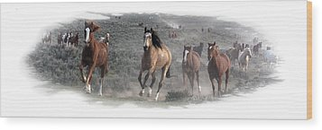 The Herd Is Coming Wood Print