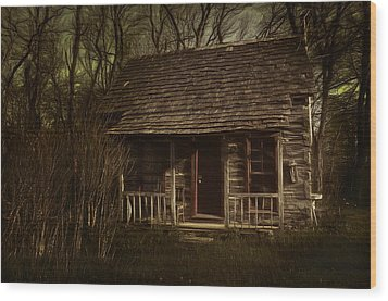 The Hermit's Cabin Wood Print by Julie Dant