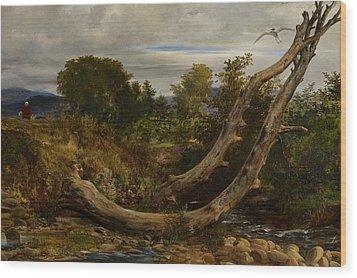 The Heron Disturbed Wood Print by Richard Redgrave